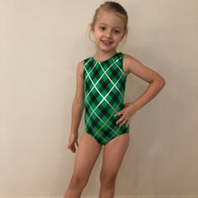 Load image into Gallery viewer, SALE - Green, Black & Silver 'Ava' Gymnastics Leotard - Childs 6 In Stock
