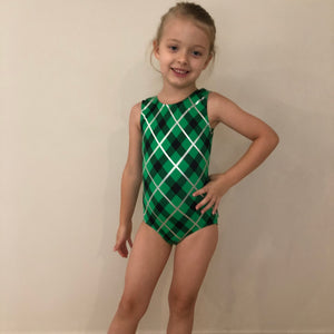 SALE - Green, Black & Silver 'Ava' Gymnastics Leotard - Childs 6 In Stock
