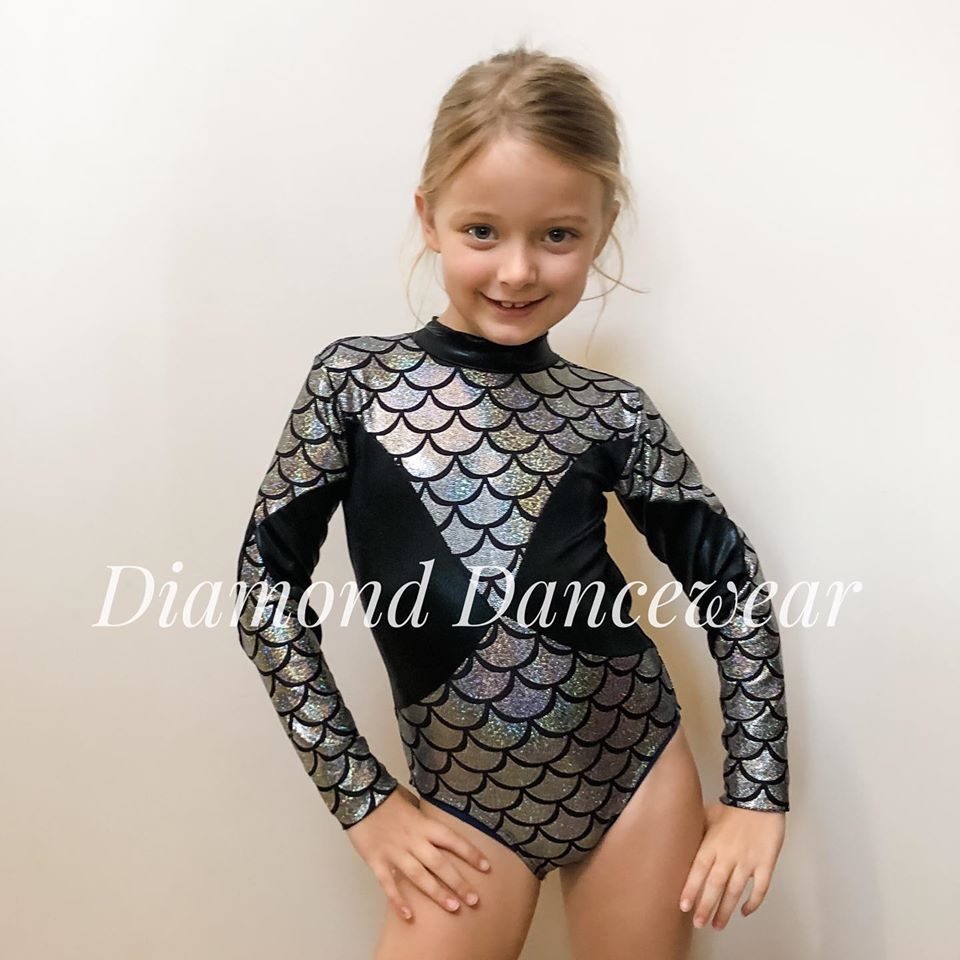 Girls Size 8 - Black and Silver Scaled Leotard - In Stock