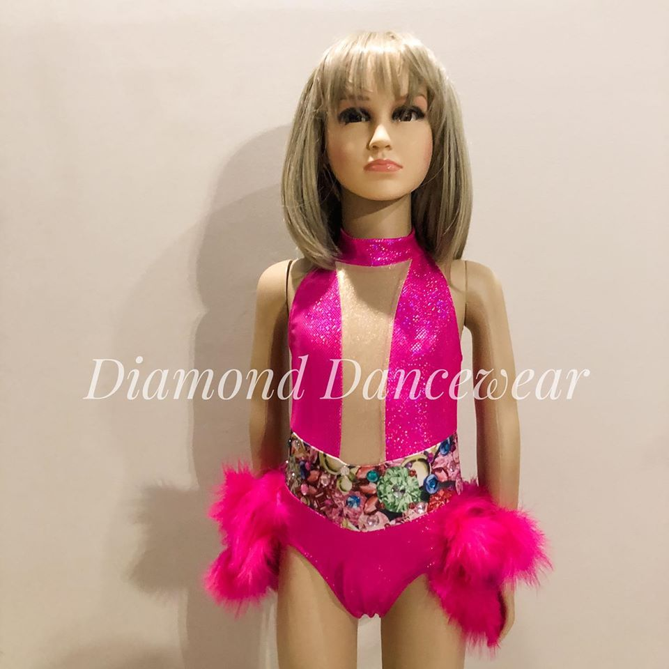 Girls Size 6 - Pink One Piece Dance Costume - In Stock
