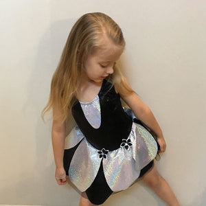 Girls Size 6 - Black and Silver Dance Dress- In Stock