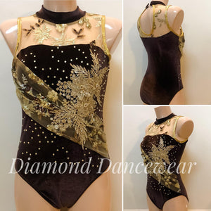 Adults Size 10 -Chocolate Brown Velvet Leotard - In Stock