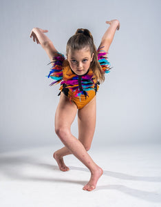 Girls size 6 - Orange and Black feathered Dance Costume - In Stock