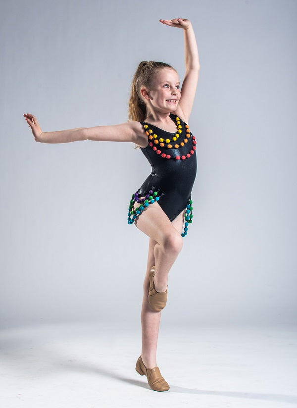Girls size 6 - Black Beaded Leotard - In Stock