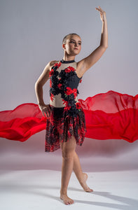 Adult Size 8 - Striking Red and Black Lyrical Costume - In Stock