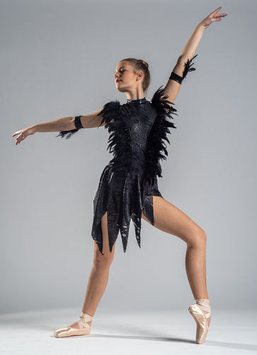 Adult Size 10 - Black and Silver Contemporary with Feathers - In Stock