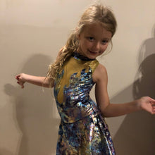 Load image into Gallery viewer, Girls size 6 - Purple and Gold Flame Dress - In Stock