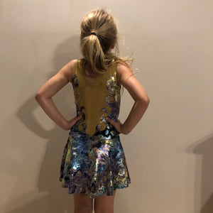 Girls size 6 - Purple and Gold Flame Dress - In Stock