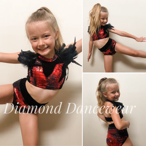 Girls Size 8 - Black and Red Contemporary Dance Costume - In Stock