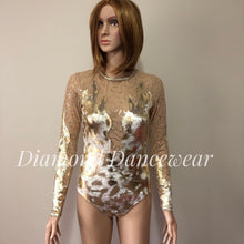 Load image into Gallery viewer, Adult Size 8 -  Gold Velvet Dance Costume - In Stock
