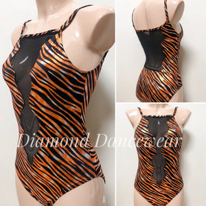 Adult Size 8 - Orange and Black Contemporary Leotard - In Stock