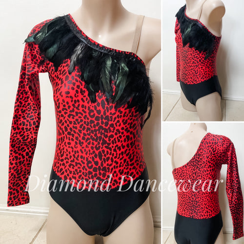 Girls Size 12 -  Red and Black Feather Leotard - In Stock