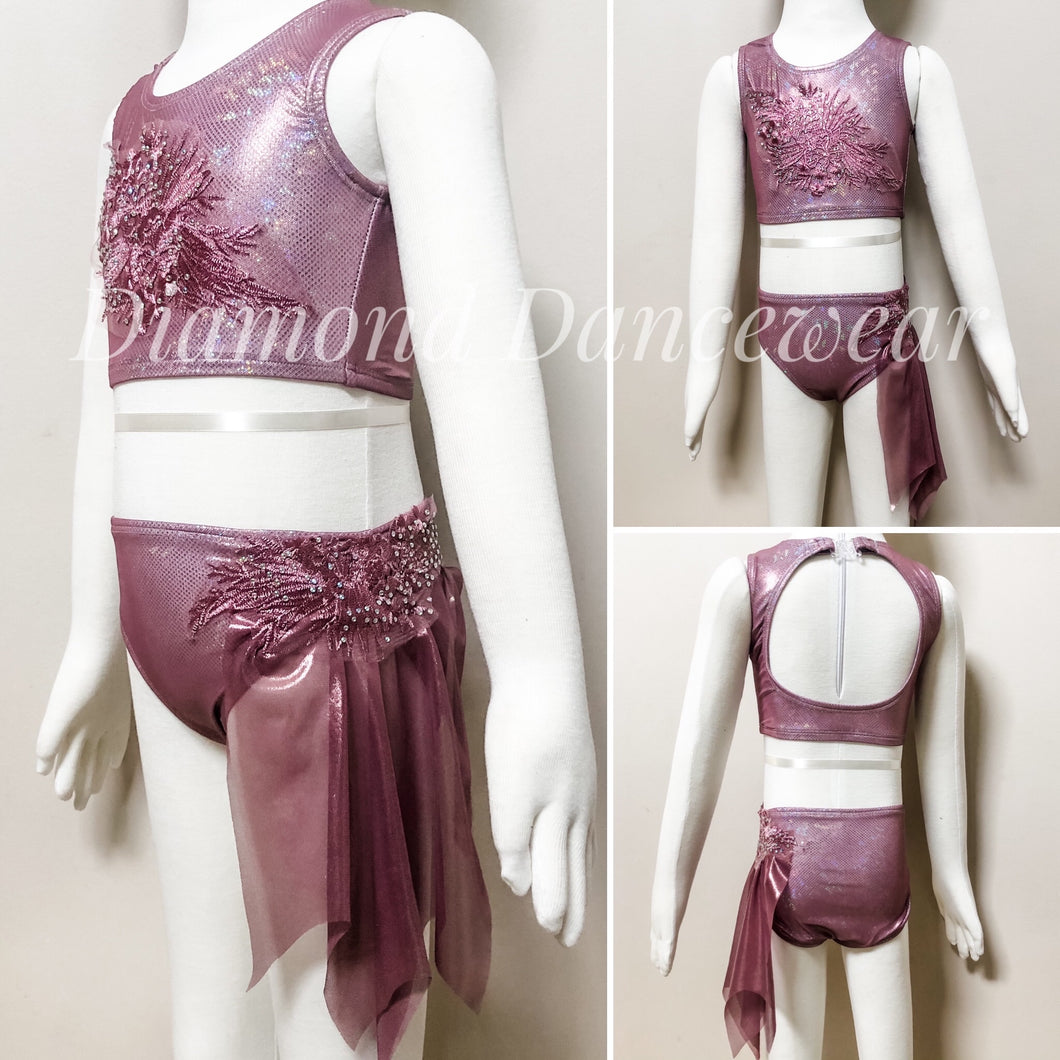 Girls size 4- Lyrical Two Piece Dance Costume - In Stock