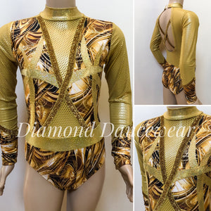 Gold Long Sleeve Leotard - Girls 10 In Stock