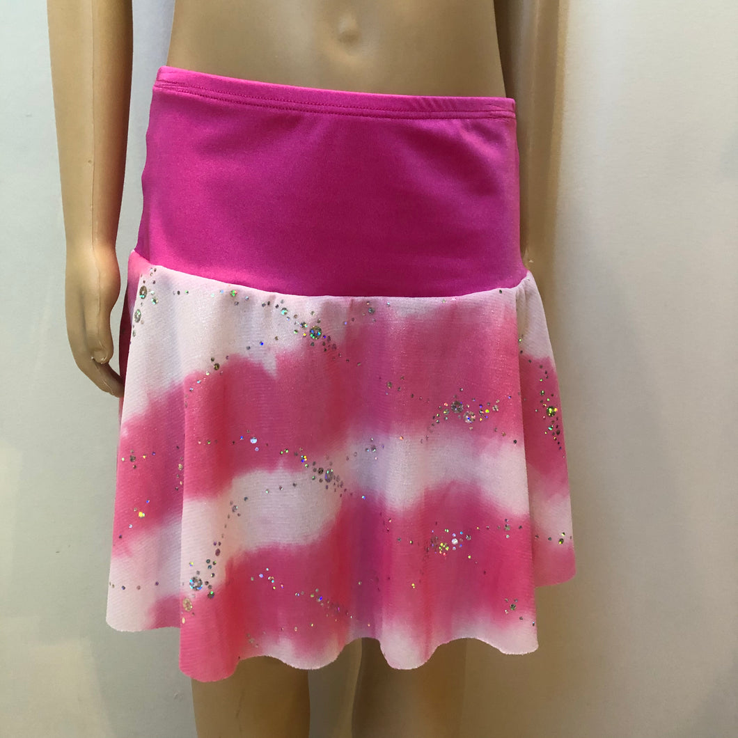 SALE - Pink and Silver Sequin Mesh Flip Skirt