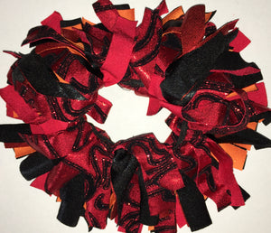 Red, black and orange Cheer Scrunchie - In Stock