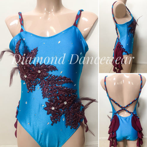 Adults Size 10 - Aqua and Burgandy Lyrical Dance Costume - In Stock