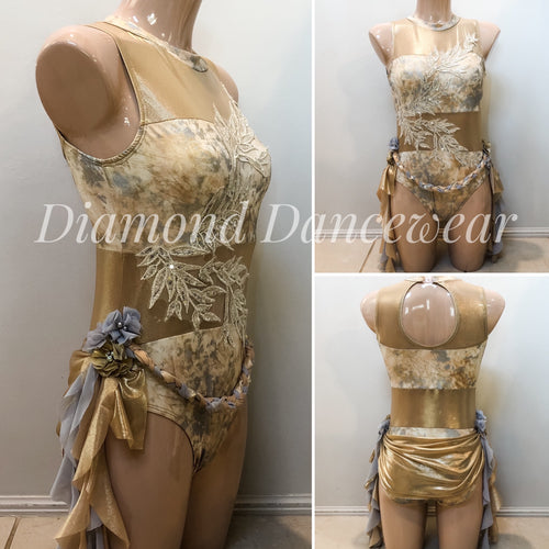 Adults Size 10 - Gold Lyrical Dance Costume - In Stock