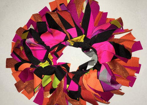 Pink, orange, yellow and black Cheer Scrunchie - In Stock