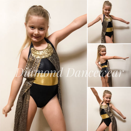 Girls Size 8 - Gold and Black Dance Costume - In Stock