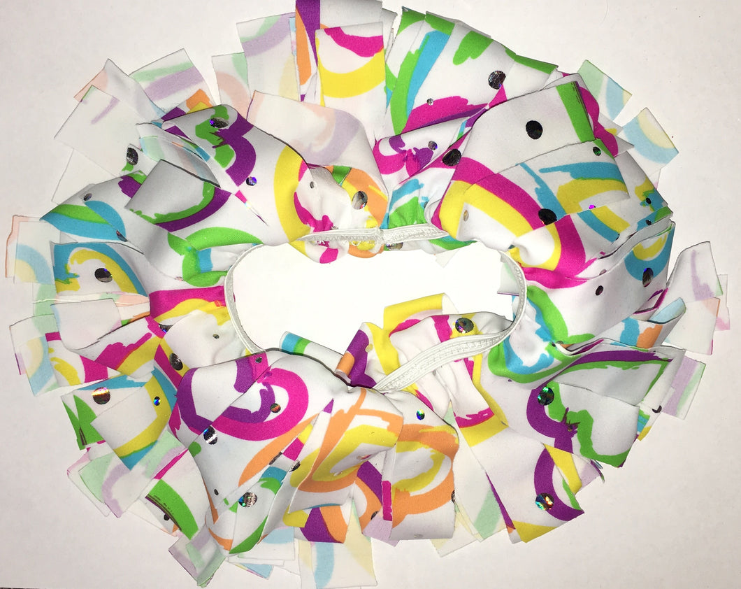 White and multicolour Cheer Scrunchie - In Stock