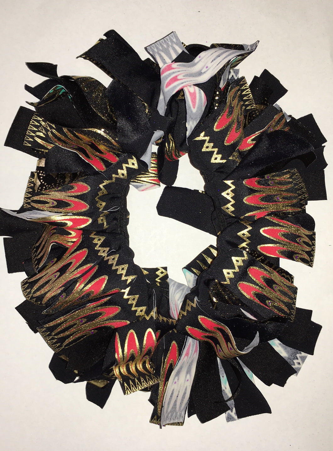 Black, red and gold with little pops of purple and aqua  Cheer Scrunchie - In Stock
