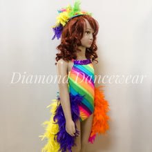 Load image into Gallery viewer, Girls size 6 -  Rainbow Feather Dance Costume - In Stock