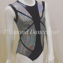Load image into Gallery viewer, Black and Silver Futuristic Leotard - Girls 10 In Stock