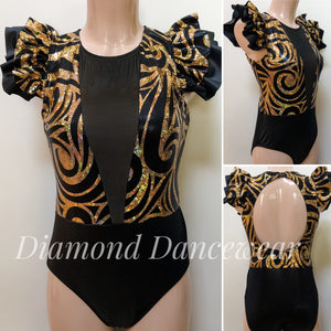 Adults 12 -  Black and Gold Contemporary Dance Costume - In Stock