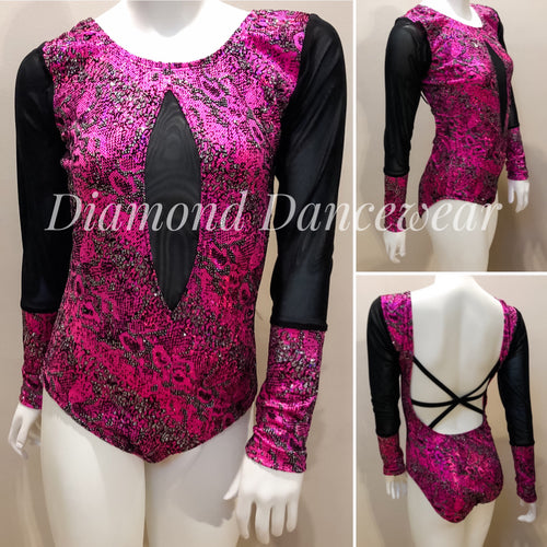 Adult Size 8 - Pink, Black and Silver Contemporary or Jazz Costume - In Stock