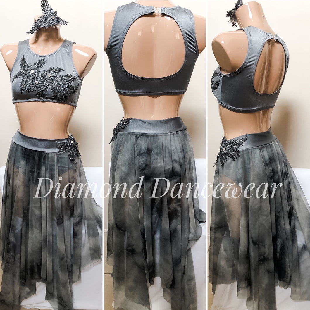 Adults Size 10 - Grey Lyrical 2 Piece Dance Costume - In Stock