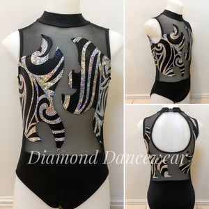 Girls Size 10 - Black and Silver Dance Leotard - In Stock