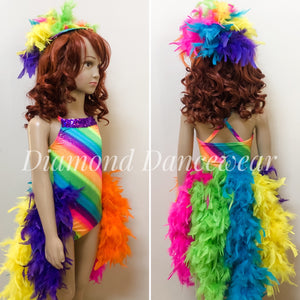 Girls size 6 -  Rainbow Feather Dance Costume - In Stock