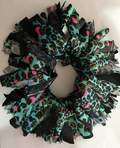Blue, black and pink Cheer Scrunchie - In Stock