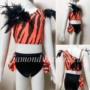 Girls Size 4 - Two Piece Feather Dance Costume - In Stock