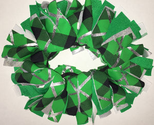 Green and silver Cheer Scrunchie - In Stock