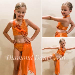 Girls Size 8 - Pretty Orange Lyrical Dance Costume - In Stock