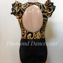 Load image into Gallery viewer, Adults 12 -  Black and Gold Contemporary Dance Costume - In Stock