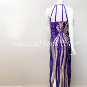 Girls Size 12 - Purple and Gold Dance Costume - In Stock