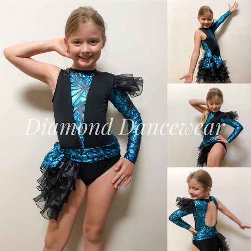 Girls Size 8 - Turquoise and Black Dance Costume - In Stock