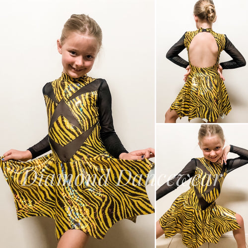 Girls Size 8 - Yellow and Black Dance Costume - In Stock