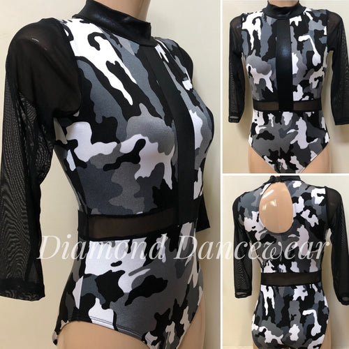 Adults Size 10 -  Black and White Camoflage Leotard - In Stock