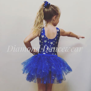 Blue and Silver Star Leotard with Scrunchie and Tutu Skirt - Multiple Sizes In Stock