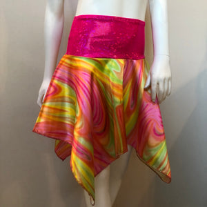 SALE - Pink Rainbow Handkerchief Skirt