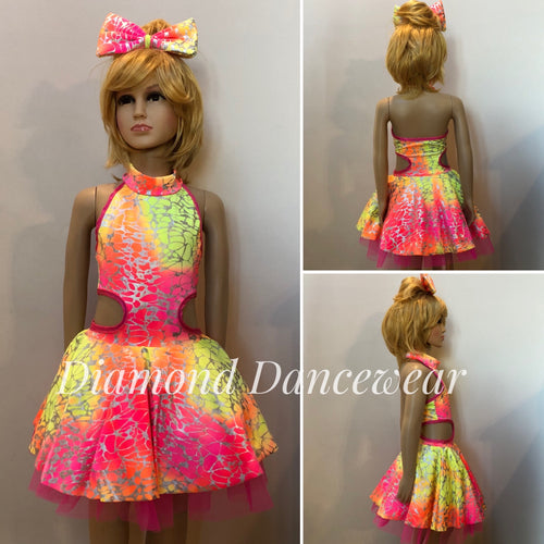 Girls size 6 - Flouro Pink and Yellow Costume  - In Stock