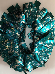 Blue and holographic Cheer Scrunchie - In Stock