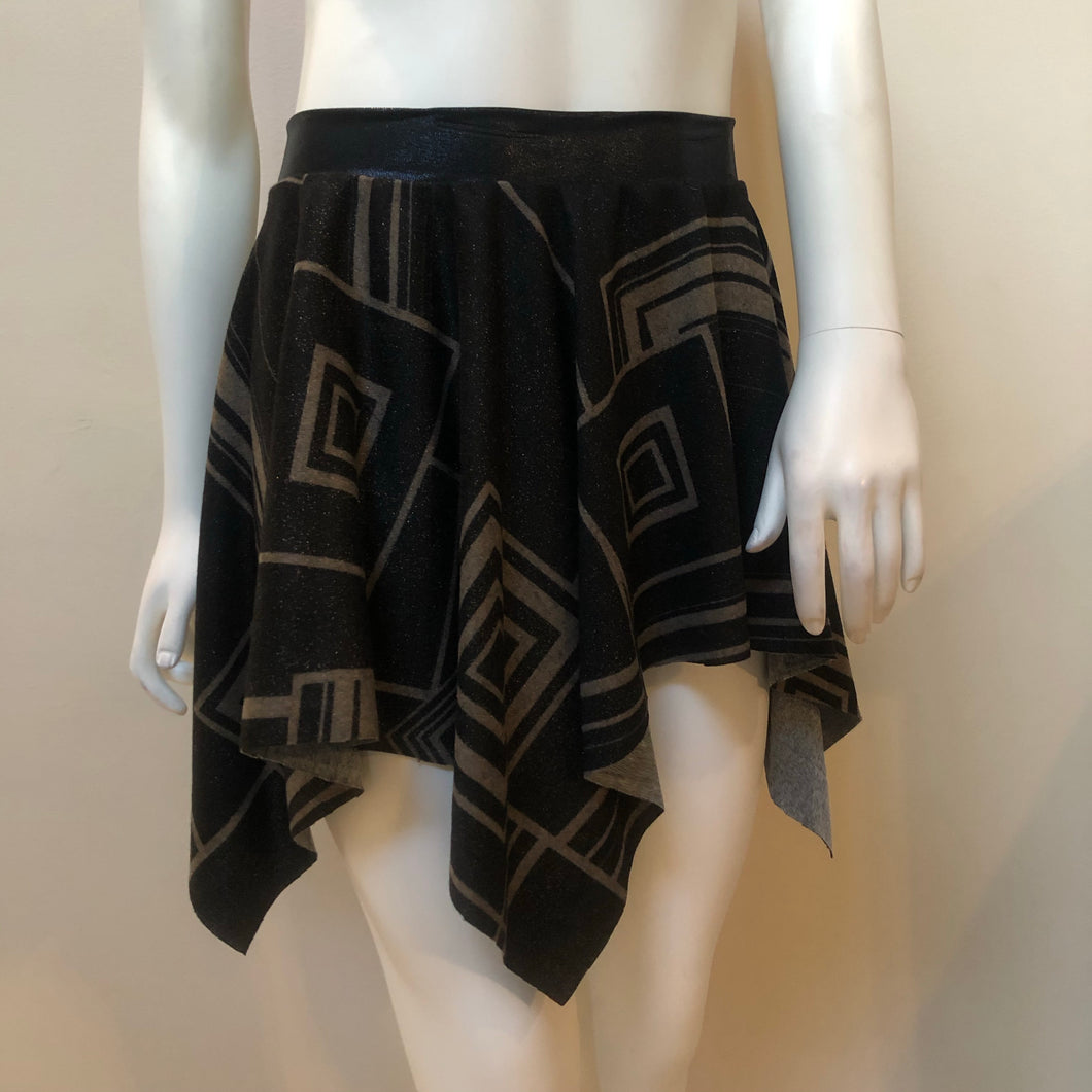 SALE - Black and Gold Print Handkerchief Skirt