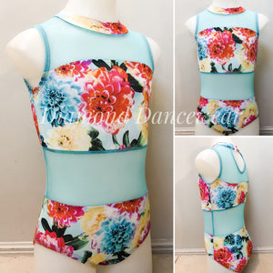 Girls Size 8 - Turquoise and Floral Dance Leotard - In Stock