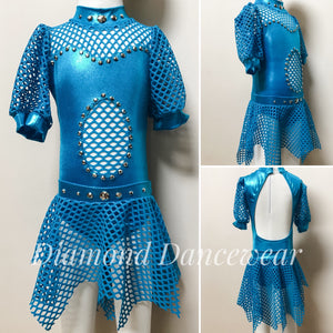 Girls size 6 - Aqua Lycra and mesh leotard with skirt - In Stock