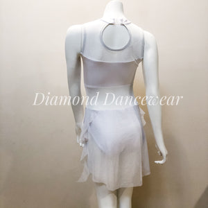 Girls 10 - White Lyrical Dance Costume - In Stock